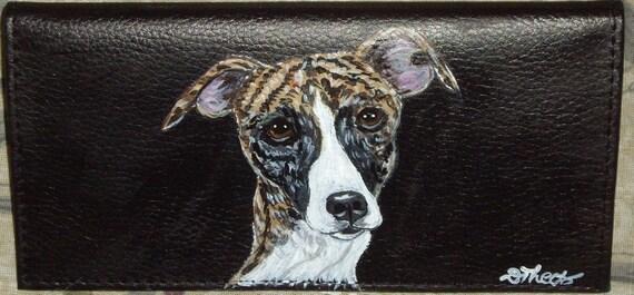 Whippet Dog Custom Painted Leather Checkbook Cover Checkbook holder