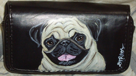 Pug Dog Painted Leather Cell Phone Case Business Card Holder Make Up Case