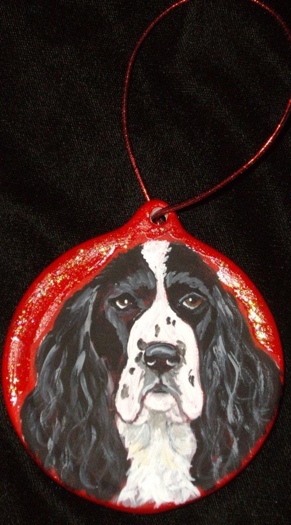 English Springer Spaniel Dog Custom Painted Christmas Ornament Decoration
