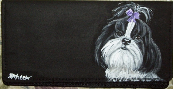 Shih Tzu Dog Hand Painted Checkbook Cover with Plastic Insert
