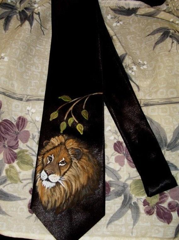 Lion Hand Painted Men's Tie Necktie Wild cats