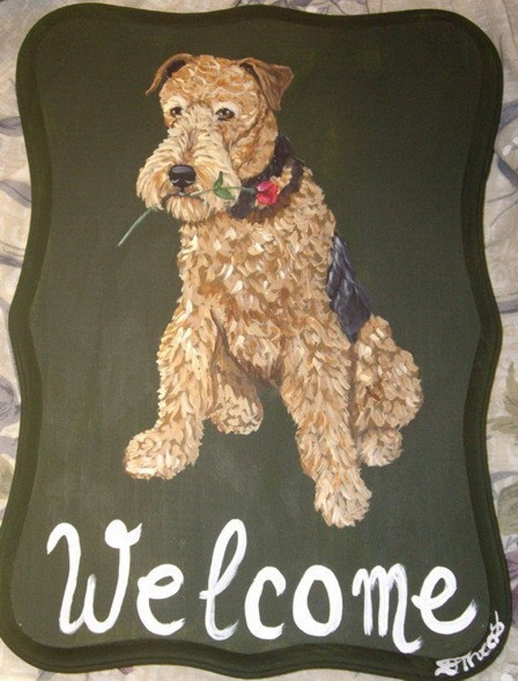 Airedale Terrier Dog Custom Painted Welcome Sign Plaque