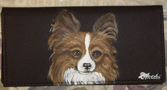 Papillon Dog Custom Painted Leather Checkbook Cover Card Holder