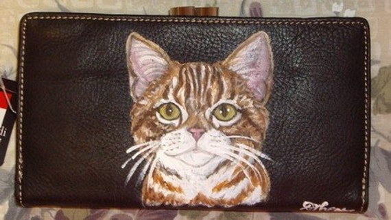 2 Cat Custom Painted Leather Wallets for Brigitte