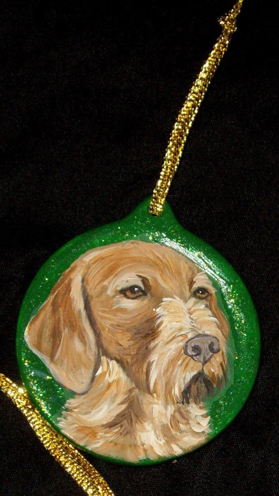 Wirehaired Vizsla Dog Custom Painted Christmas Ornament Decoration