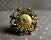 Sweet Bird Ring with crystal clear rhinestones