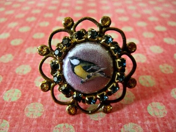 Sweet Bird Ring with purple rhinstones