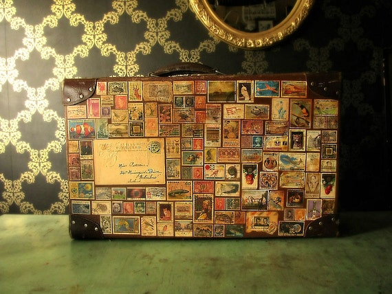Around the World in 80 Stamps Vintage Travel Luggage Suitcase SALE