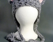 Fuzzy and Soft Gray Cat Hat with Pink Ears, Meow