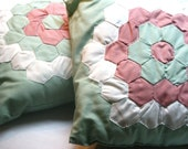 SALE - Set of Two Vintage Handmade Quilted Pillows - Grandmother's Flower Garden