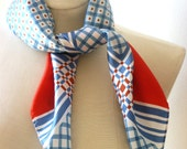 Vintage Scarf - Bold Red and Blue