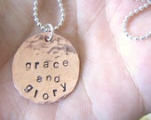 CUSTOM Order for sunnybee21 - grace and glory - Hand Stamped Copper and Sterling Necklace
