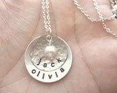 Personalized Hand Stamped Sterling Silver Necklace with vintage pearl or swarovski crystal