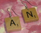 CUSTOM made  SCRABBLE TILE   earrings ALterED art  jewelry great personalized gift ZNE scrabble tiles