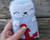 tiny embroidered folk art rag doll Otter