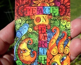 Sun and Moon Design - Peace on Earth - Large Kitchen Magnet