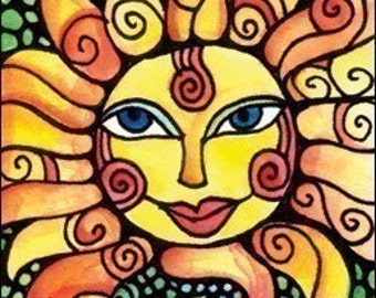 Mexican Loteria Cards - EL SOL / The Sun -  ACEO / Art Card Home Decor Print by Artist Cindy Couling
