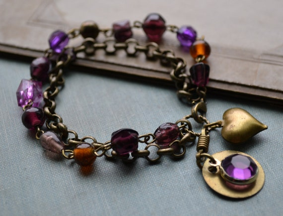 Vintage Element Charm Bracelet, Vintage Heart, Purple Glass Bead & Chain, Recycled Jewelry, Antique Brass