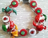 Gnome & Toadstool Button Bracelet