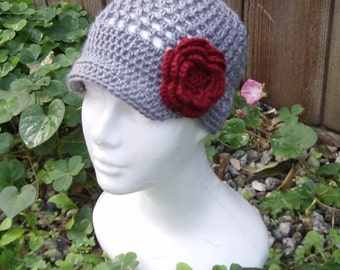 Lacy Flower Beanie - Custom - Choose your own size and colors - Women Crochet Hat