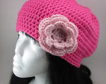 Poofy Crocheted Hat with Large Flower Clip - Women Crochet Hat Hot Pink