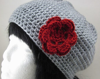 Poofy Crocheted Hat with Medium Flower Clip - Women Crochet Hat Grey