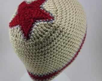 Star Beanie  - crocheted beanie - Men Crochet Hat - Tan with Red Star