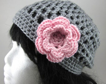 Lacy Crocheted Hat with Large Flower Clip - Women Crochet Hat in Grey