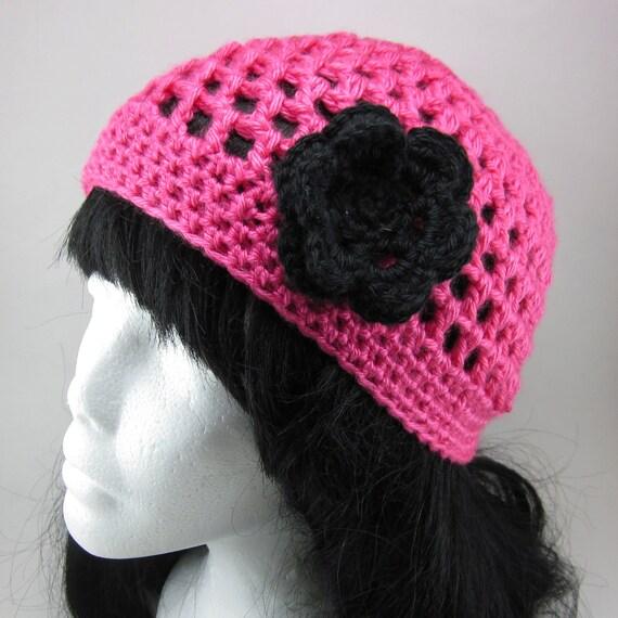 Lacy Beanie with Medium Flower Clip - Women Crochet Hat Hot Pink