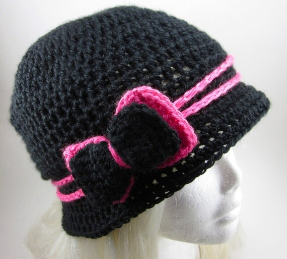 The Love Hat - Black and Hot Pink Crocheted Cloche with bow clip MADE TO ORDER
