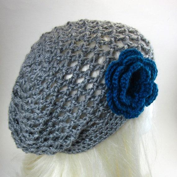 Lacy Slouchy Crochet Hat with Large Flower Clip - Women Crochet Hat Grey