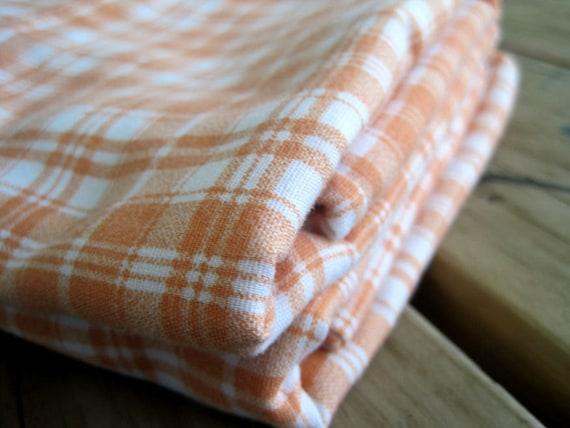 Set of Two Vintage Pillowcases, Peach Plaid