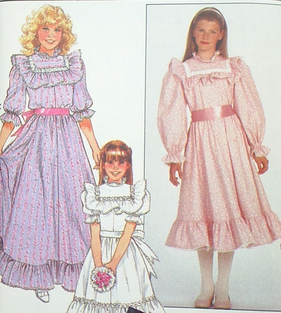 RESERVED Vintage 80&-39-s Girls Prairie Dress Pattern by onehotwaffle