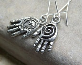 Creative- Free Shipping Tiny Pewter Hands Handmade Spirals Long Silver Earwires Artist Etsy Earrings