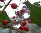 Drops of Rain - Large Crystal Clear Glass Orb Raindrops Gunmetal Earwires Etsy Long Wedding Spring Summer Earrings....