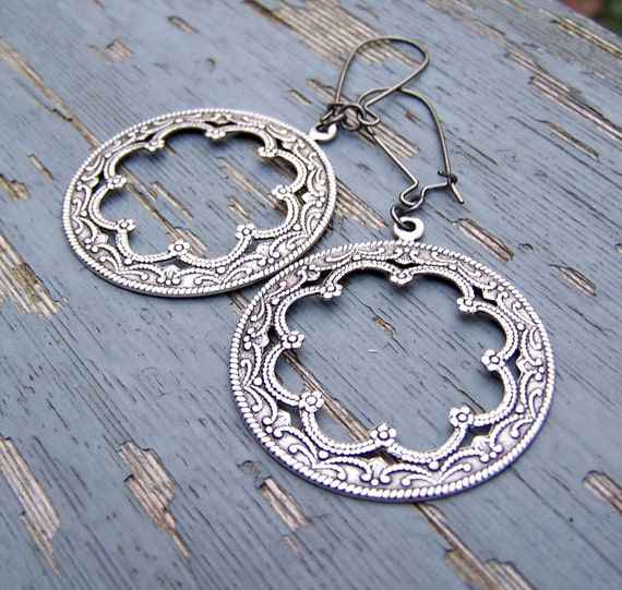 Spanish Harlem Silver Scalloped Medallions Filigree Floral Lacy Wedding 10 Dollars Holiday Party New Years Eve Etsy Dangle Earrings...