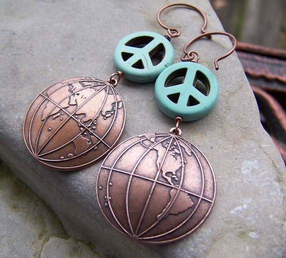 Be the peace - Copper Globes Turquoise Peace Signs Earth Day Jewelry Under 25 Large Etsy Earrings