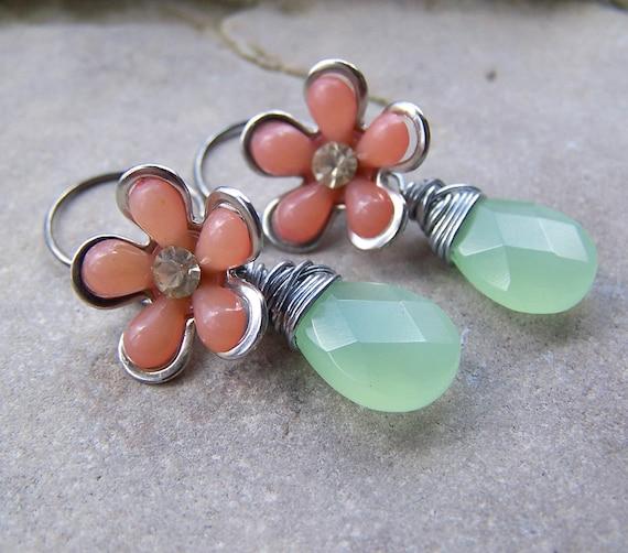 Spring Flowers - Vintage Lucite Flowers Opal Green Glass Briolette Earrings Under 20 Spring Etsy Wedding