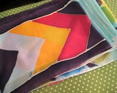 silk scarf  with hand painted chevron stripes