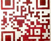 i love you - QR Code scarf - silk scarf with hand painted QR Code