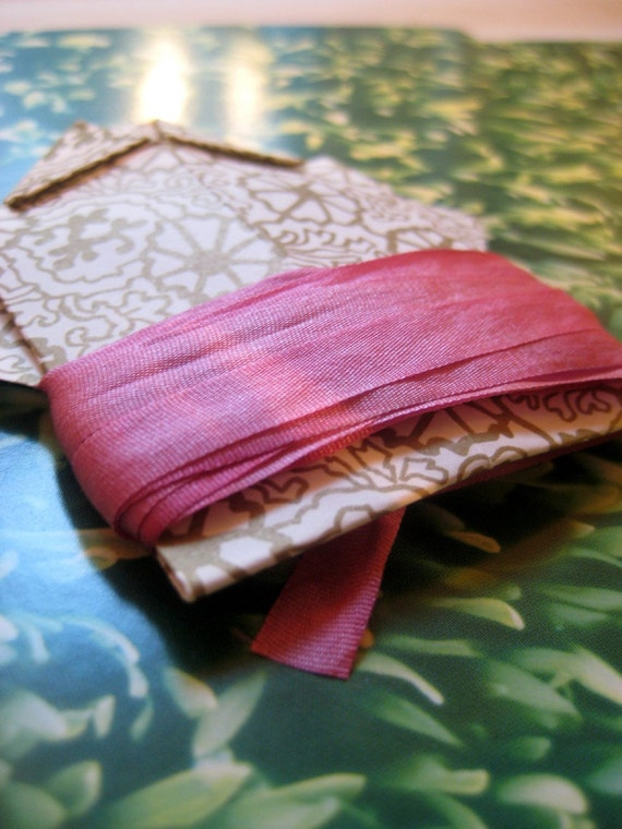 hand dyed silk ribbon in pink