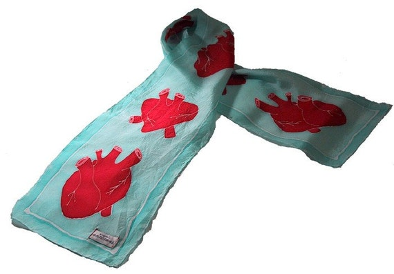 custom hand painted silk anatomical heart scarf