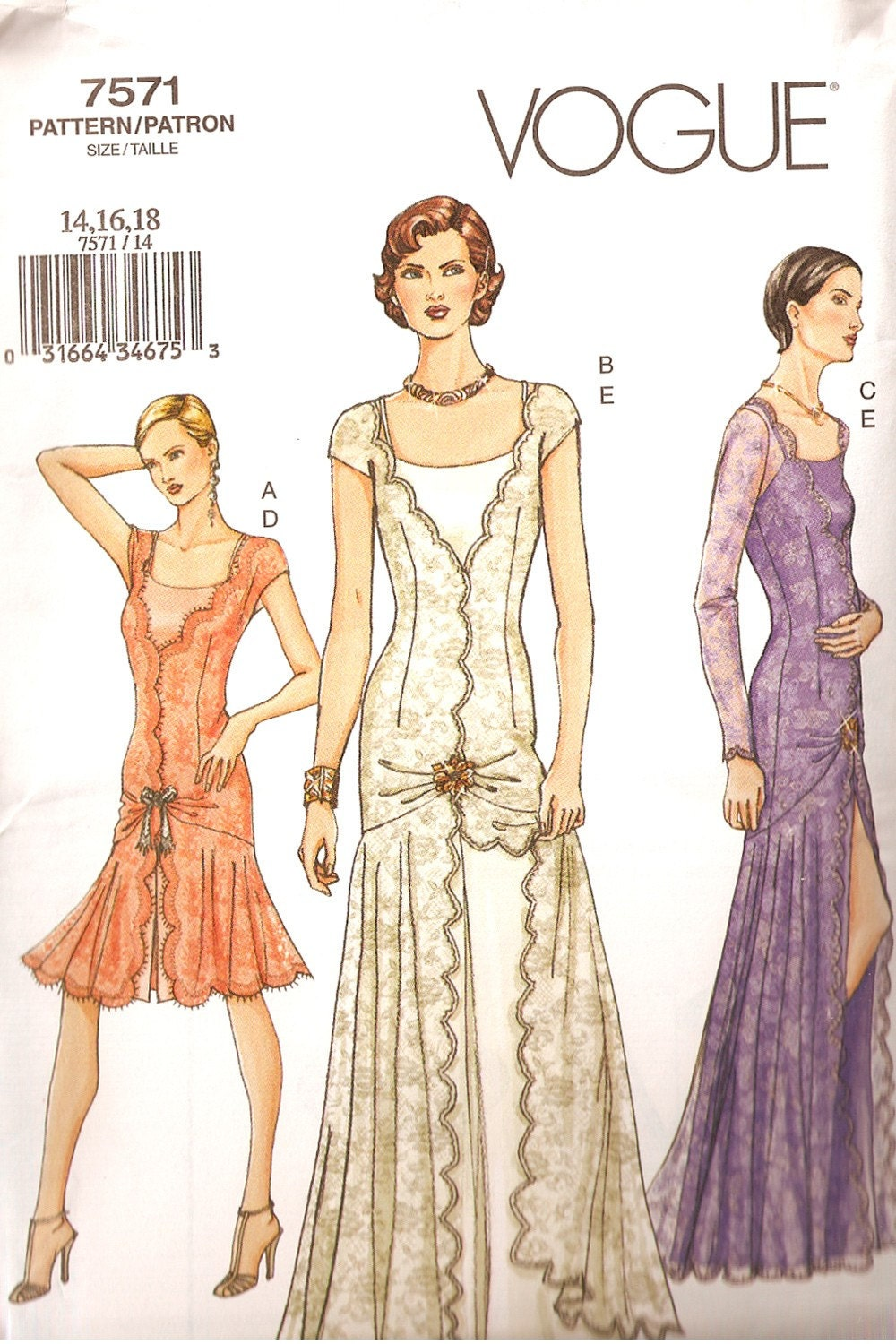 Vogue 7571 flapper dress pattern size 14-16-18 by abeadles on Etsy