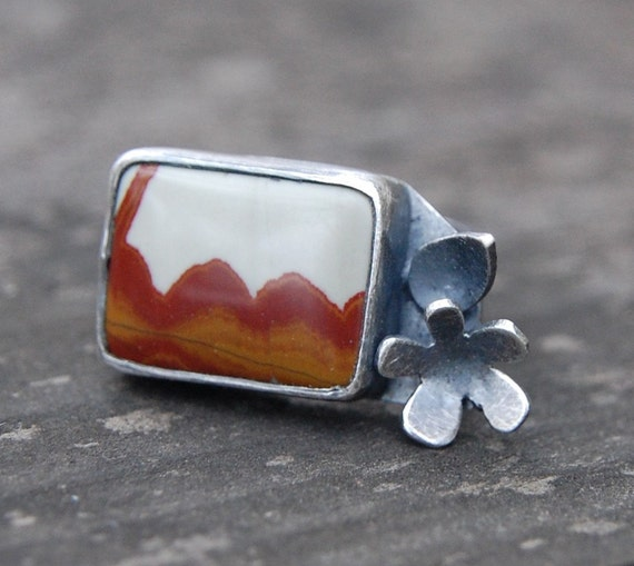 LAST CHANCE prairie landscape ring - size US 5 1/2 - jasper and sterling silver