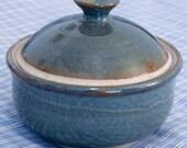 small lidded sugar or honey pot blue-green glaze