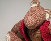 Cute Cotton Crochet Chocolate Bear. Organic Cotton Teddy Bear. Xoco