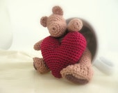 Love Ornament. Cute Cotton Crochet Bear.