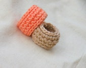 In Gold And Peach Simple Wedding Band. Crochet Jewelry.  Golden Metallic Crochet