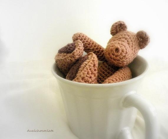 Little Cotton Crochet Bear. Chocolate Bear. Sweet Early Morning Dream.