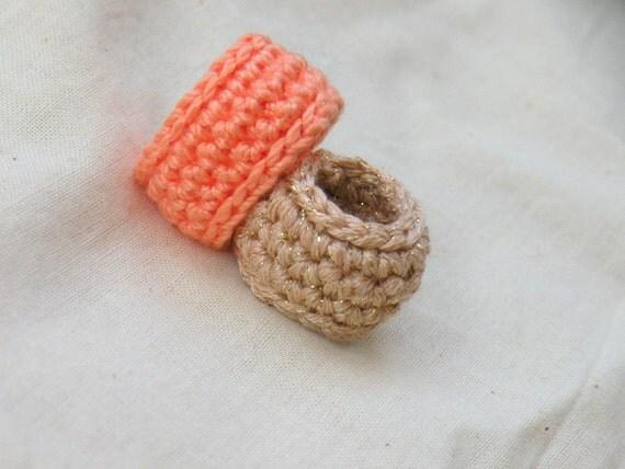 In Gold And Peach Simple Wedding Band. Crochet Jewelry.  Golden Metallic Crochet
